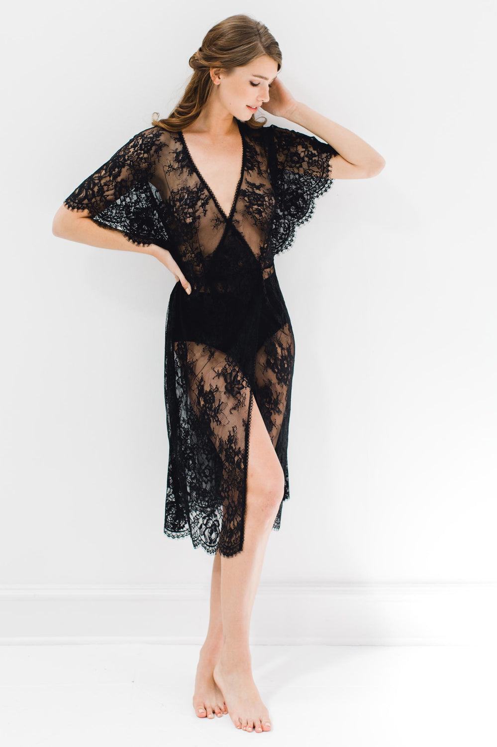 Anita Midi lace robe with flutter kimono sleeves in Black silk slip dress lace wrap