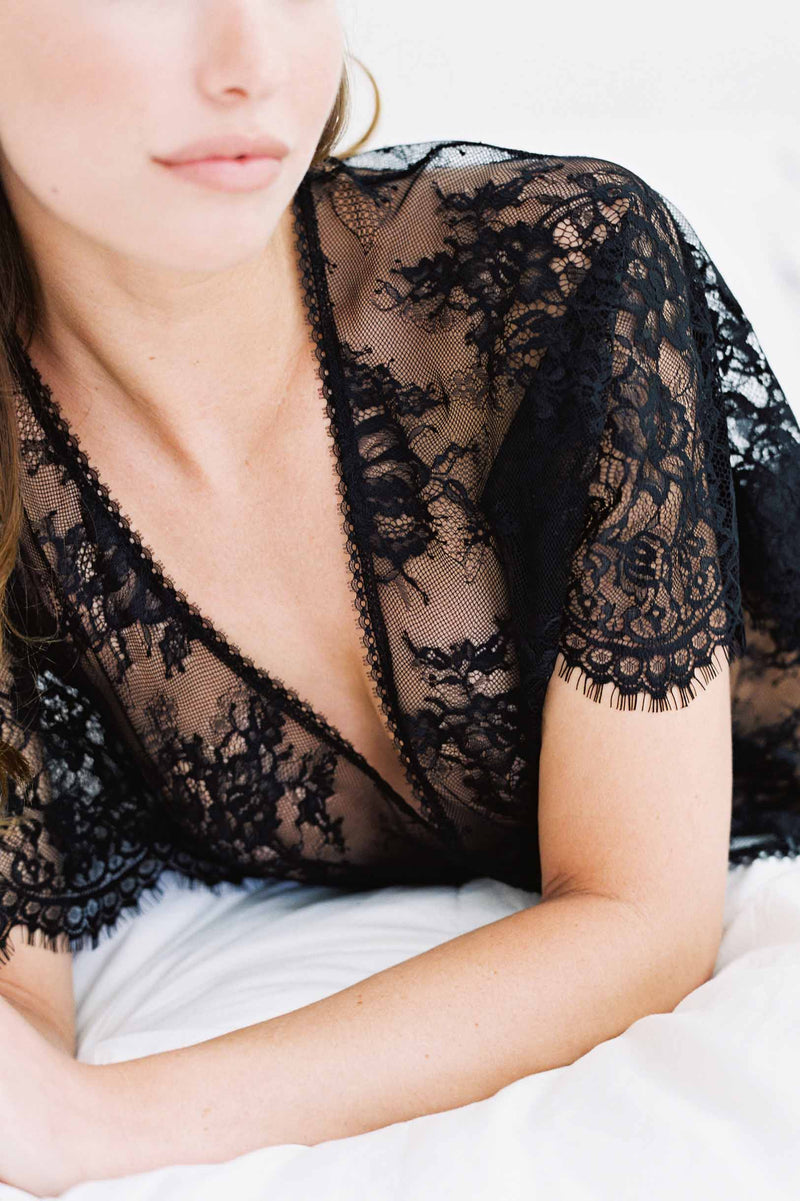 Anita Midi lace robe with flutter kimono sleeves in Black engaged wedding night
