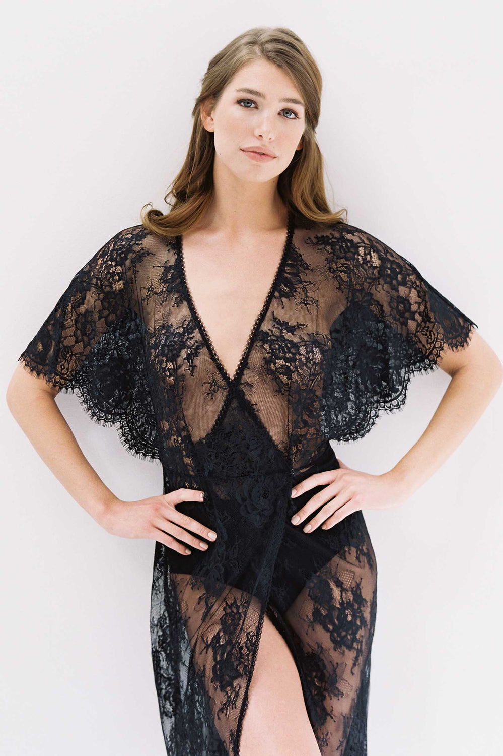 Anita Midi lace robe with flutter kimono sleeves in Black bridal Trousseau