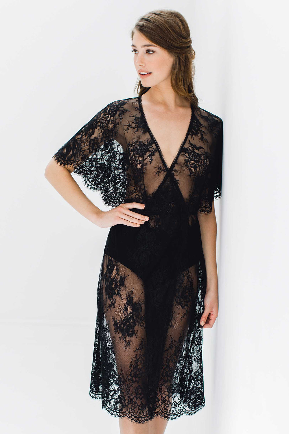 Anita Midi lace robe with flutter kimono sleeves in Black honeymoon night