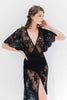 Anita Midi lace robe with flutter kimono sleeves in Black wedding shower dress slip cover up