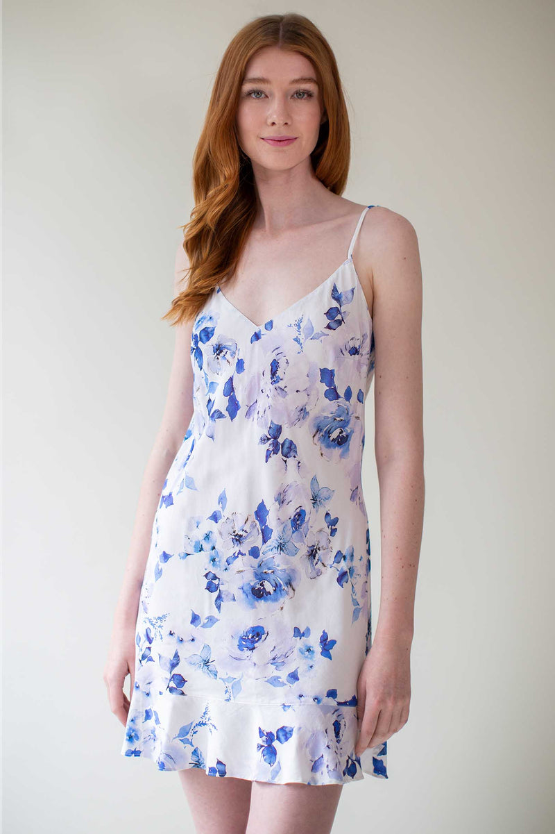 Botanical love Bias cut Flounce slip dress in blue