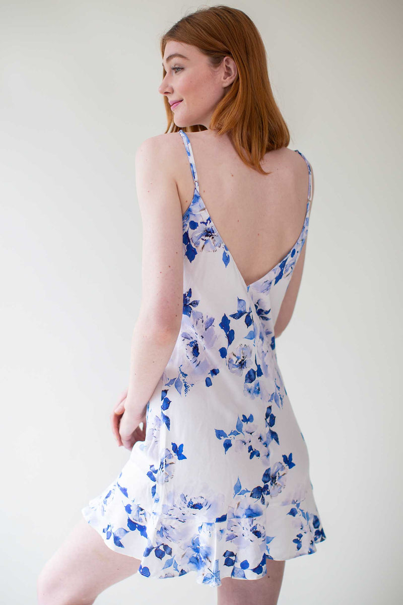 Botanical love Bias cut ruffled slip dress in blue