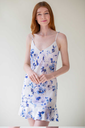 Botanical love Bias cut rayon slip dress in blue Spring Wedding