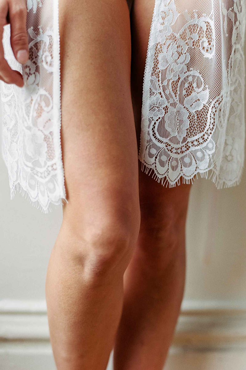 Boudoir Bridal Lace Robe in Ivory honeymoon lingerie