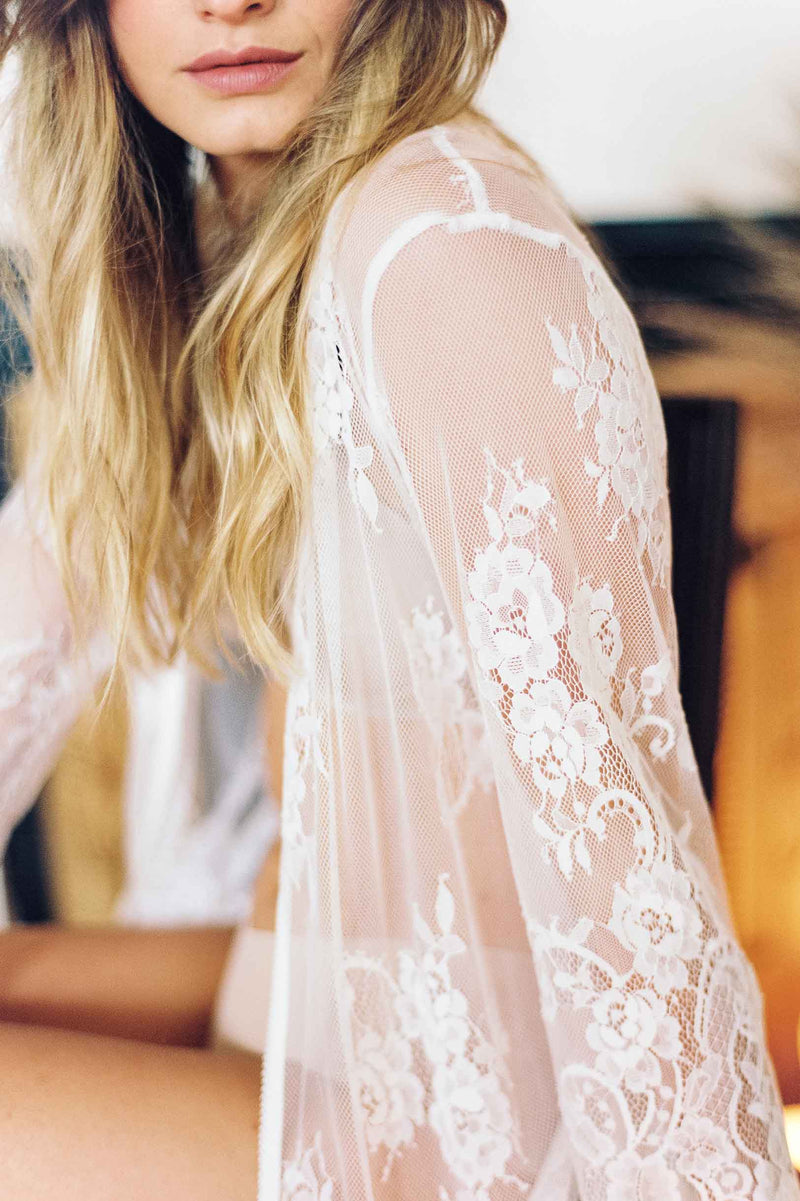 Boudoir Bridal Lace Robe in Ivory Bridal Gift