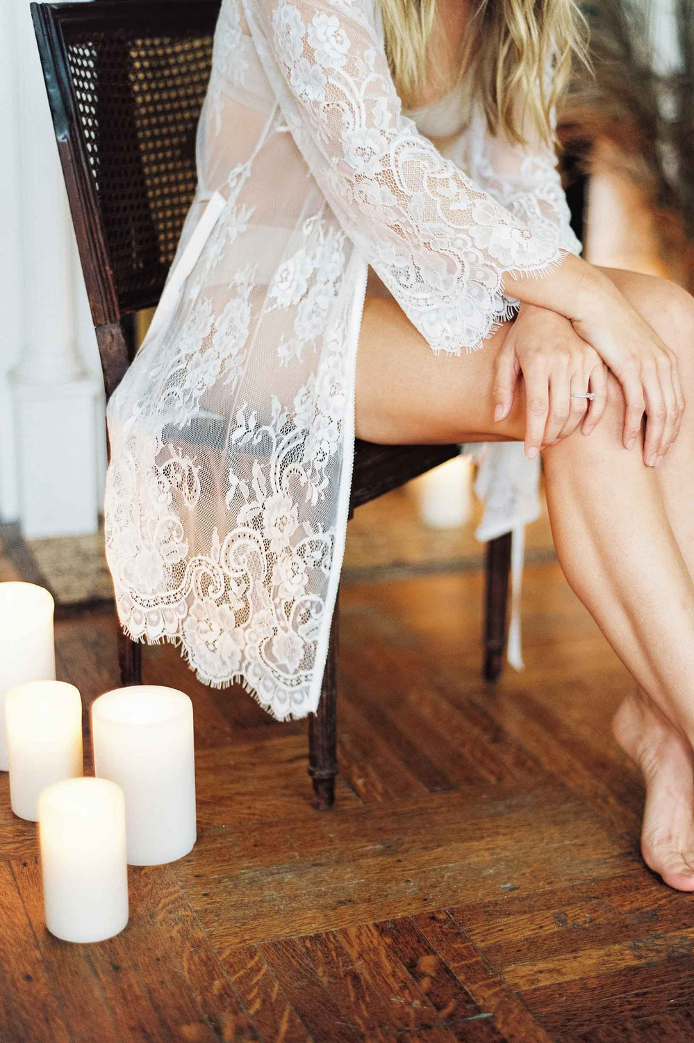 Boudoir Bridal Lace Robe in Ivory Bridal Trousseau