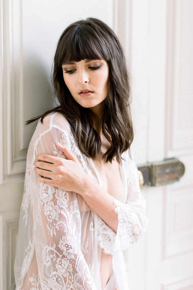 Boudoir Bridal Lace Robe in Ivory summer wedding