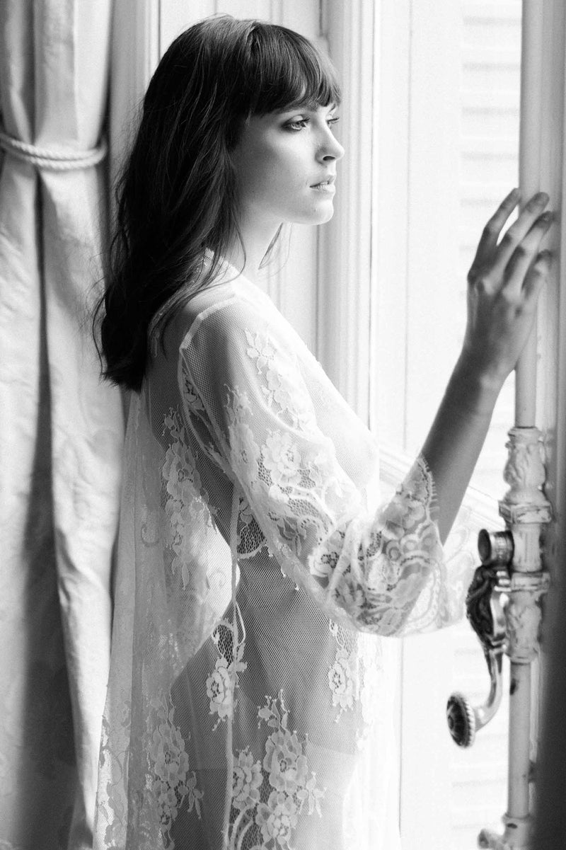 Boudoir Bridal Lace Robe in Ivory Wedding lingerie