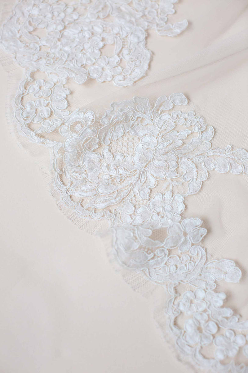 Calais Alencon French Lace Veil in Ivory Bridal Corded Lace