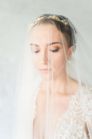 Calais Alencon French Lace Long Veil in Ivory with blusher