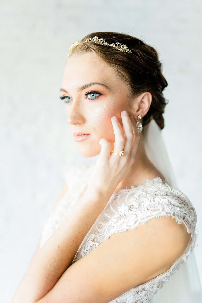 Calais Alencon French Lace Veil in Ivory Summer wedding