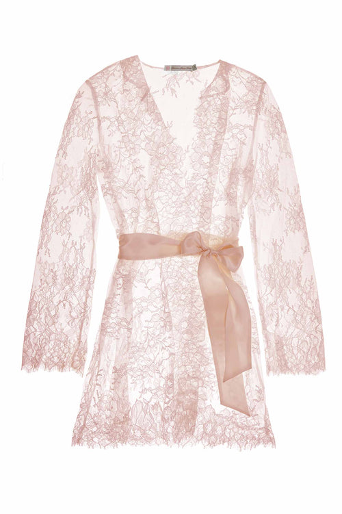 Camellia lace robe in Rose pink