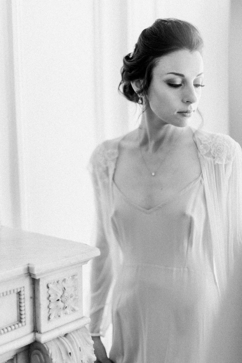 Magnolia Silk Tulle French Lace Robe gown in Ivory