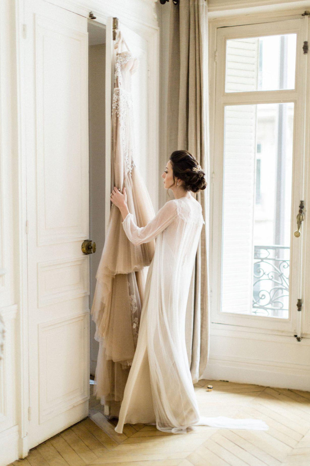 Magnolia Silk Tulle French Lace Robe gown In Nude or Ivory