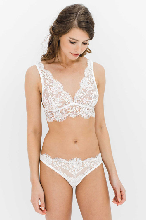 Dominique Soft cup French lace bra bralette in Ivory