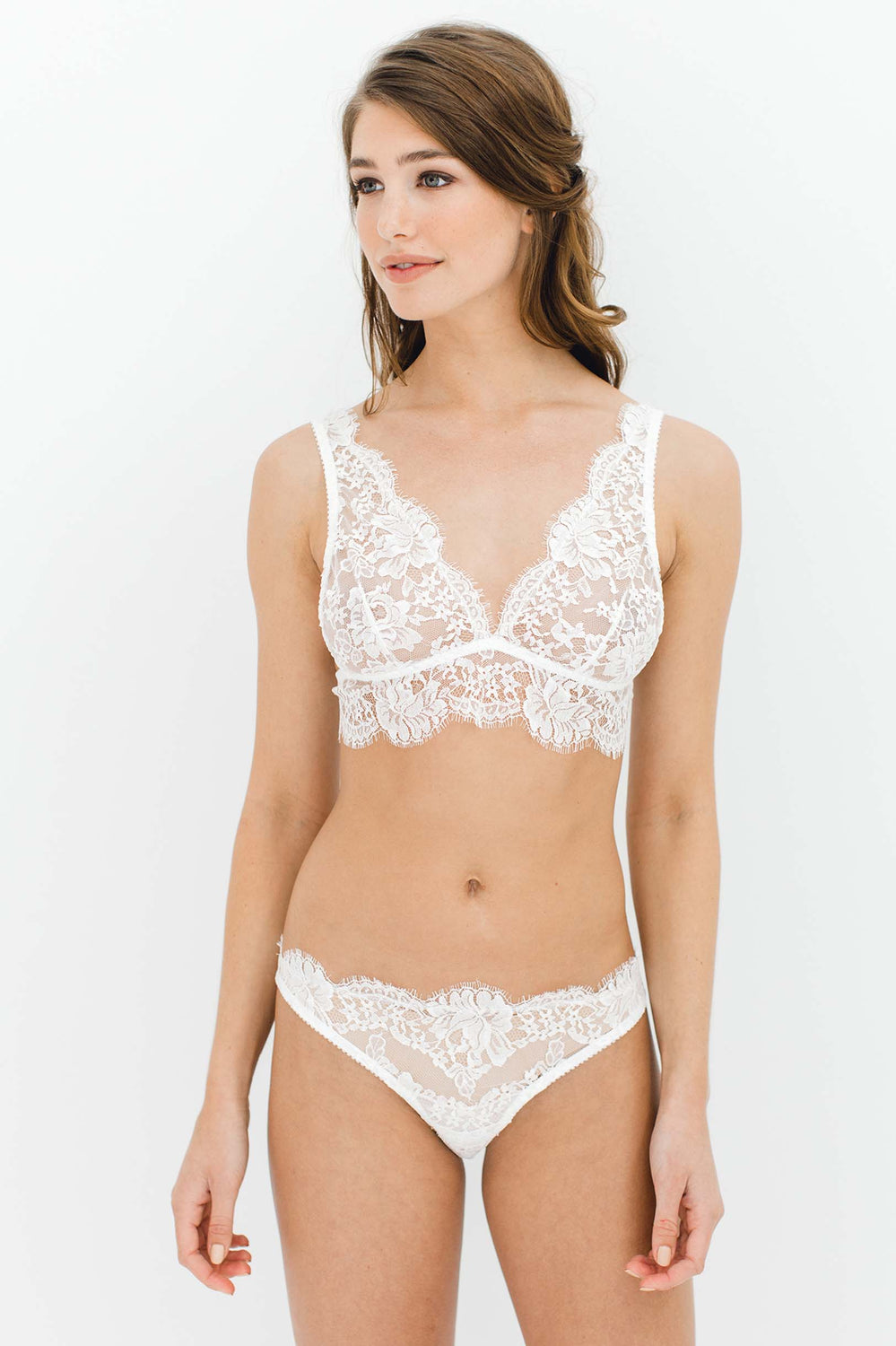0a0666f256127 Dominique Soft cup French lace bra bralette in Ivory ...