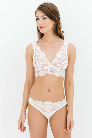 Rosa Scalloped French Lace Bralette in Ivory, Black or Rose Pink