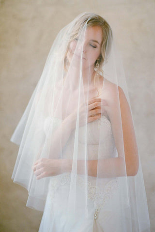 Magnolia silk tulle and French lace Juliet cap veil