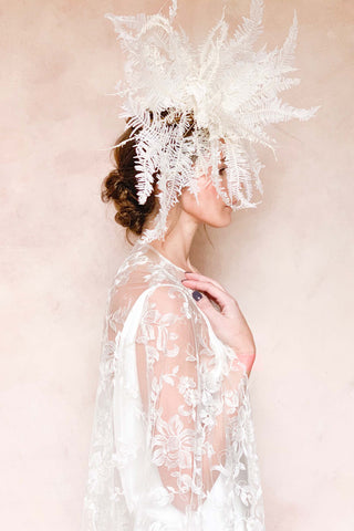Madrid French lace mantilla blusher veil in ivory