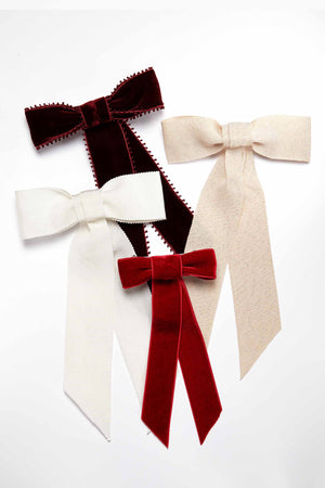 Carolina Wide Grosgrain Bow Barrette