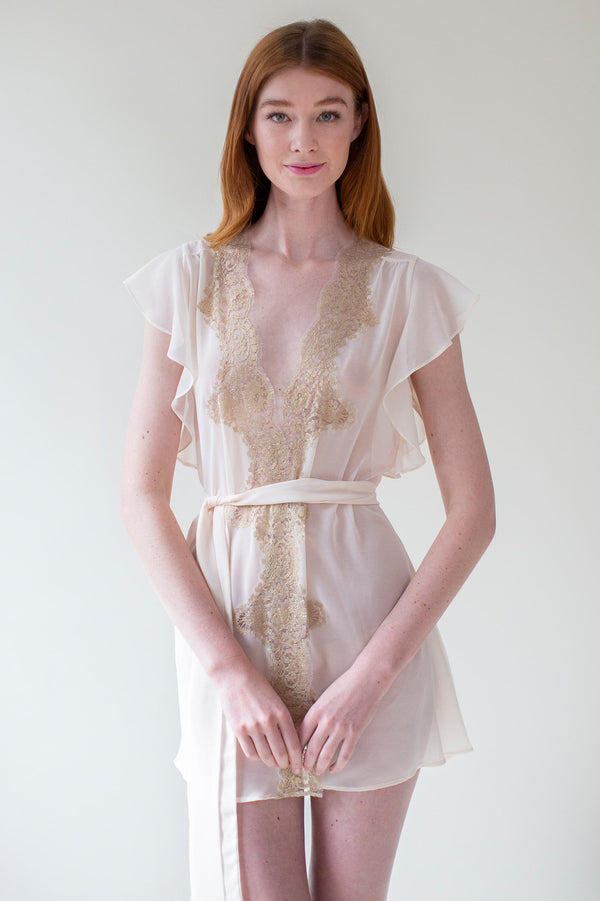 Honey Flutter sleeves French lace robe