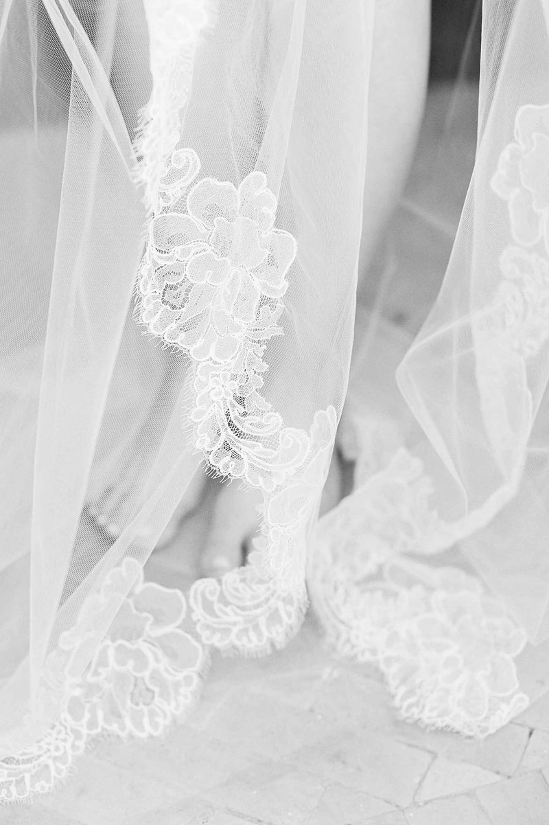 Jacqueline Sheer French lace scallop Cathedral veil