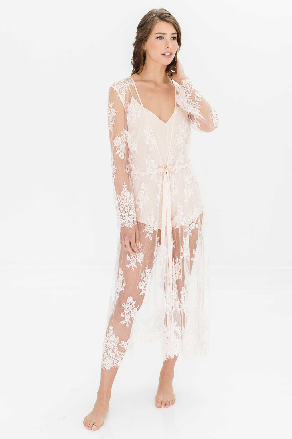 Jenny Boho long French lace robe in Ivory