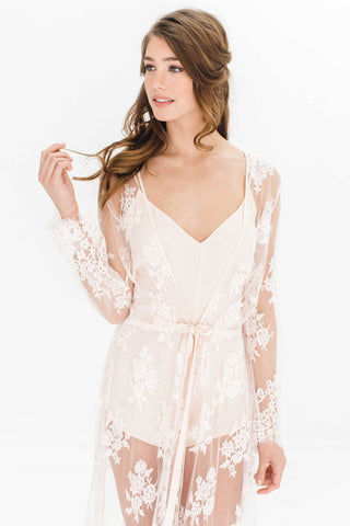 Tara Gilded Silk Kimono robe in Blush pink + gold lace - Style R77