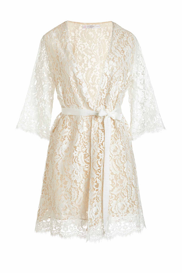 Kate French Lace & silk lined wedding robe wrap in Ivory nude