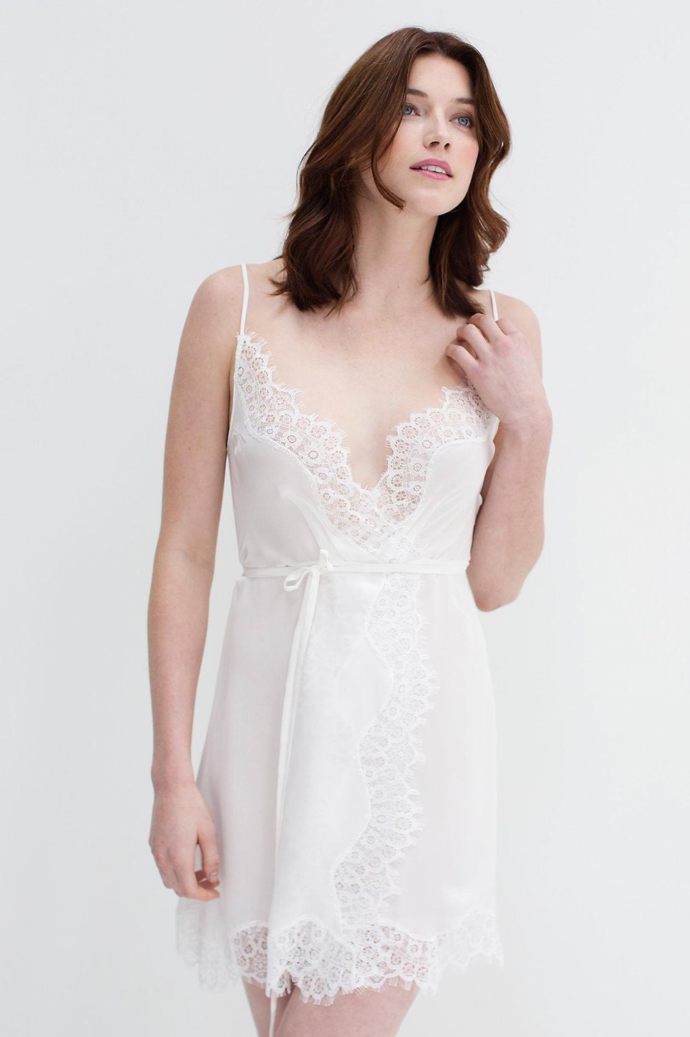 Lacy Silk and lace wrap slip in ivory