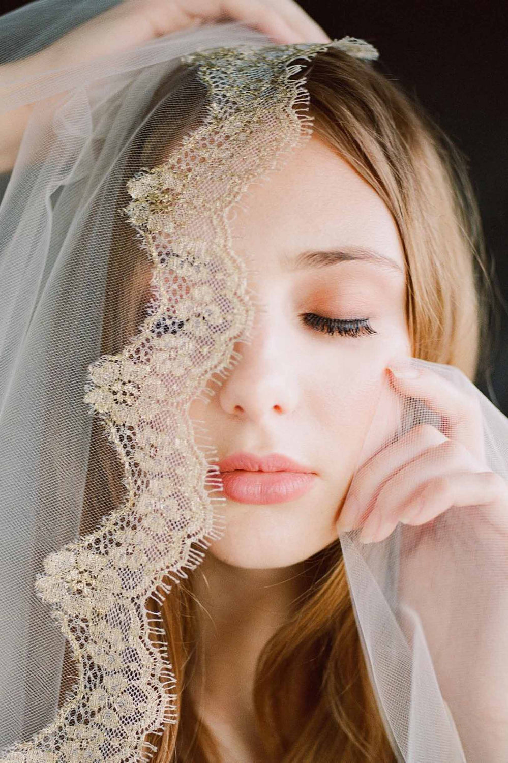Lacy Gilded French Lace mantilla veil in Ivory Gold