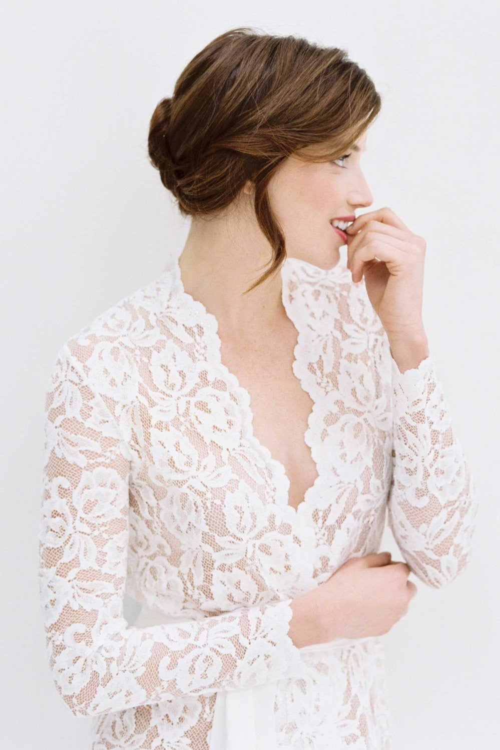 Lauren Stretch French Lace Robe in ivory