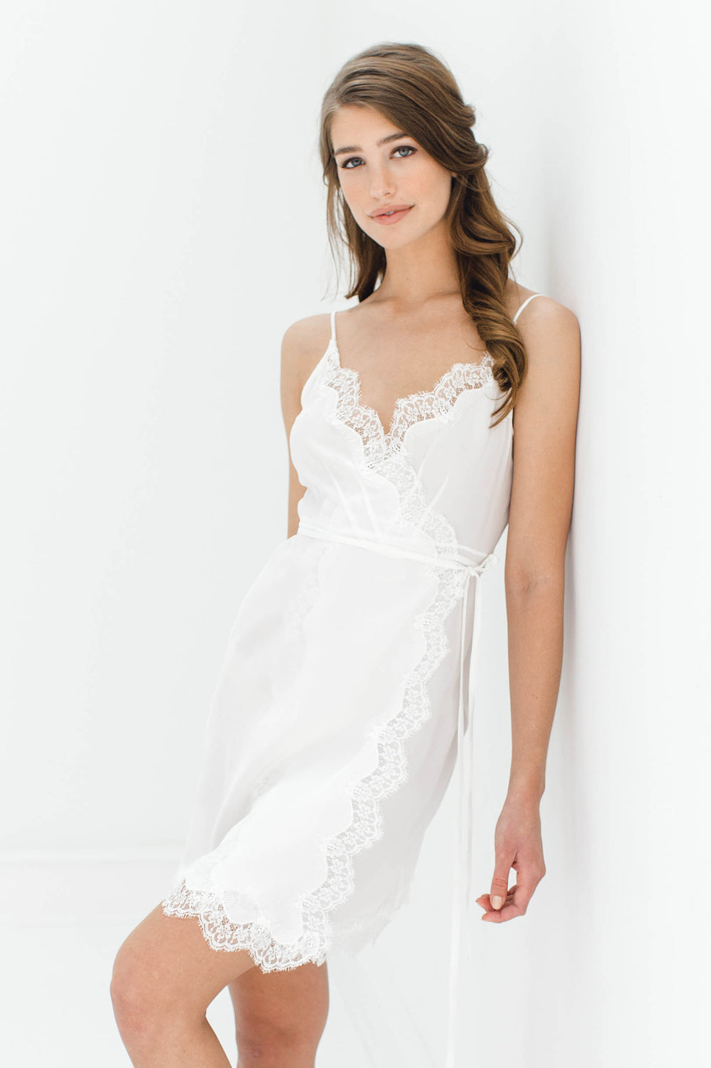 0ad8b94fe Lille Silk and lace wrap slip in Ivory – GirlandaSeriousDream.com