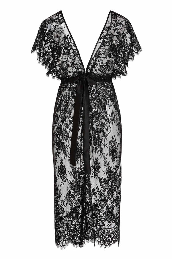 Margot Midi lace kimono robe in Black