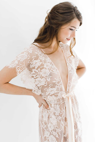 Lacy Silk Chiffon and lace kimono robe in ivory