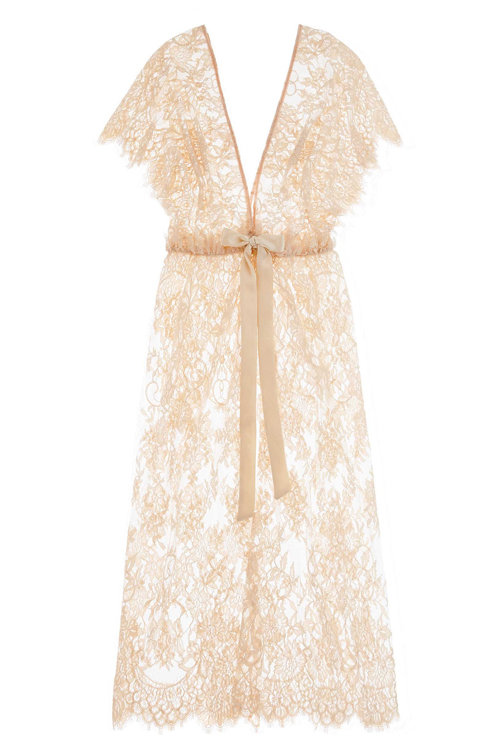 Margot Midi lace kimono robe in Blush pink
