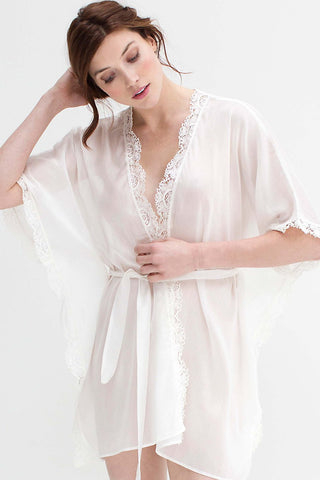 Roseline French lace cape blouse tee top in Ivory