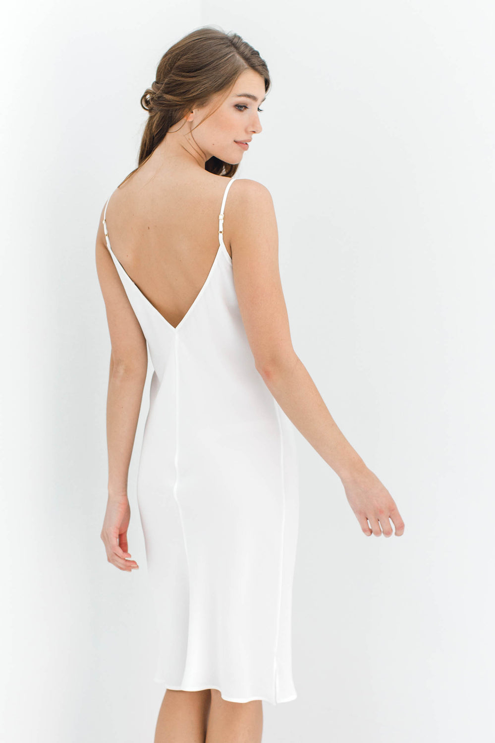 Heavenly Bias cut Midi Silk Slip in Ivory, Blush pink or Black