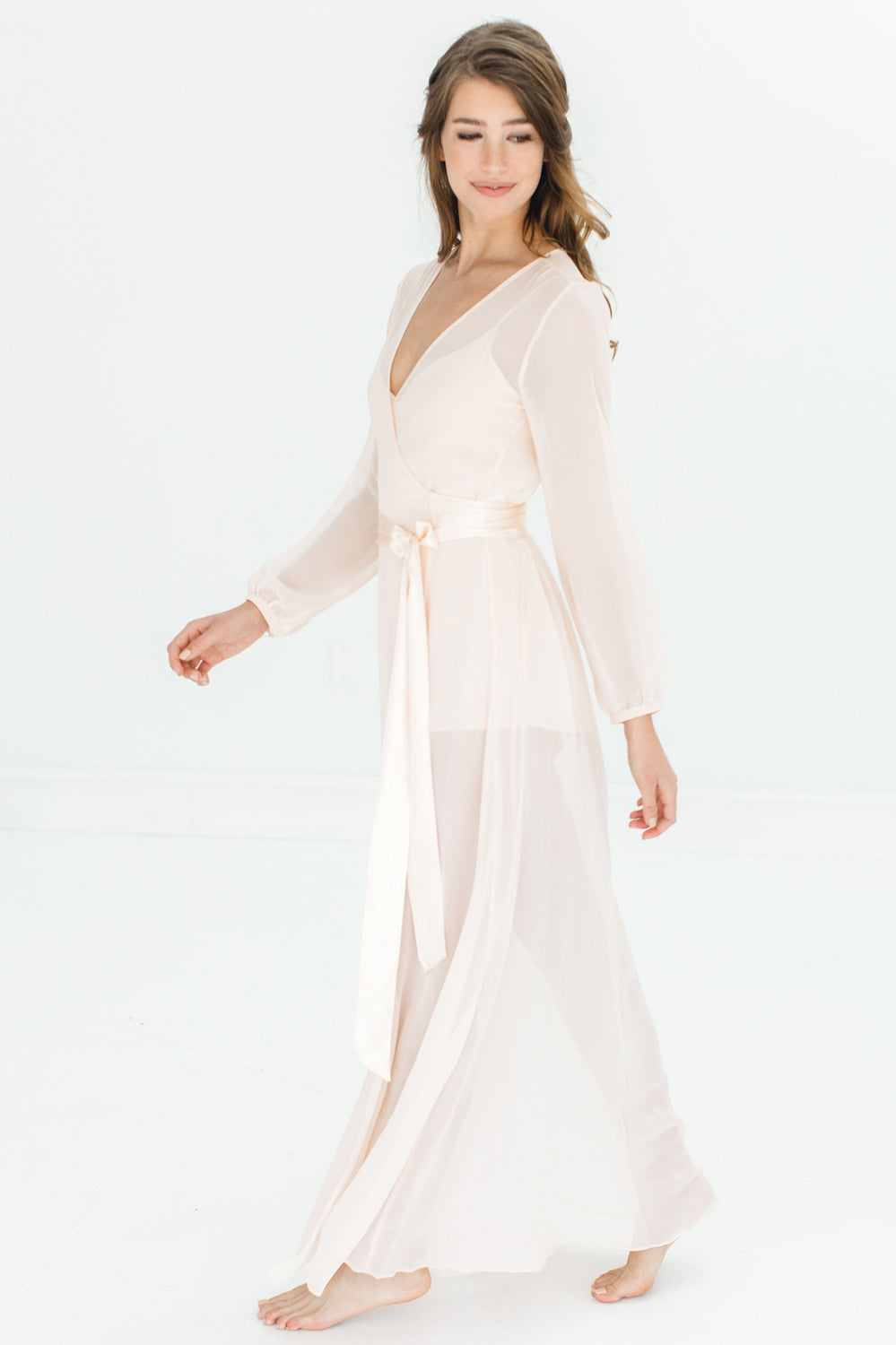 Nina Silk Chiffon Wrap Robe in Blush pink - style R130