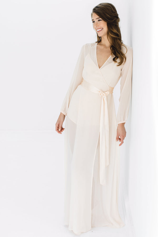 Nina Silk Chiffon Wrap Robe in Blush pink