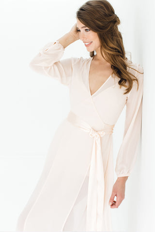 Samantha Silk Kimono Robe in Rose quartz pink - style 300