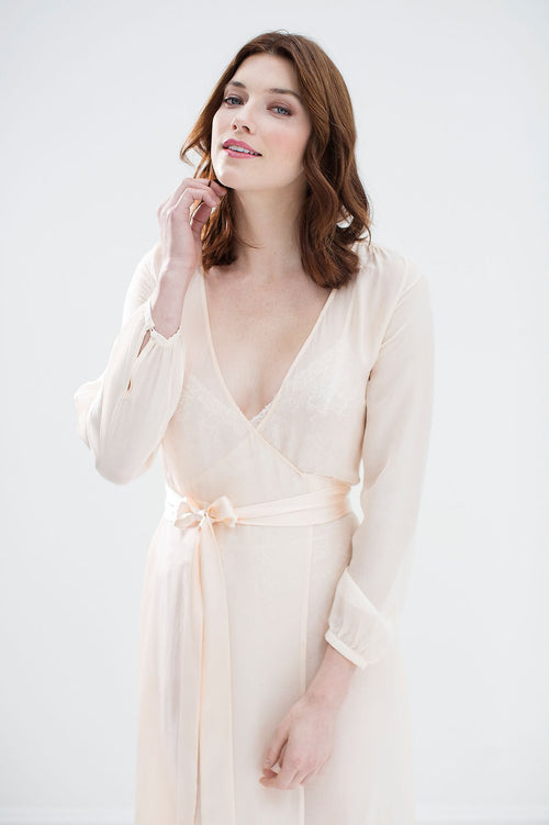 Nina Silk Chiffon Wrap Robe in ivory or blush - style R130