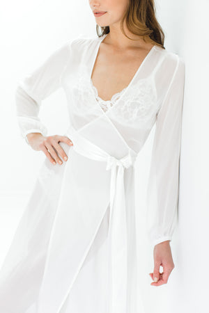 Nina Silk Chiffon Wrap Robe in Ivory