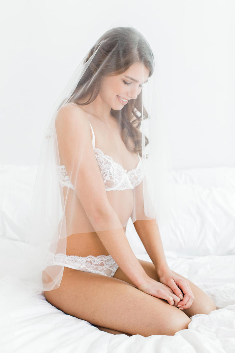 Peony French lace underwire balconette demi cup bra