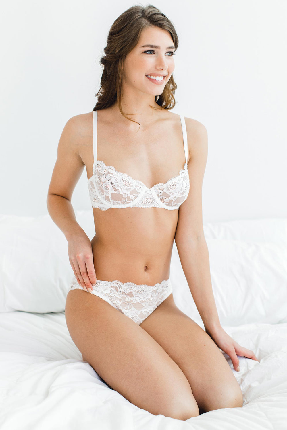 Peony French lace underwire balconette demi cup bra in Ivory