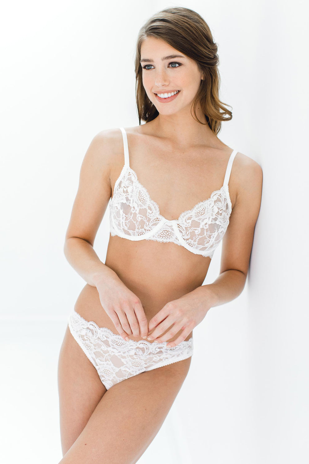 42f10caf3d ... Peony French lace bikini panties briefs in Ivory ...