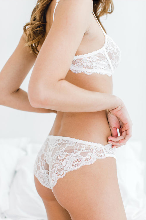 Peony French lace bikini panties briefs in Ivory