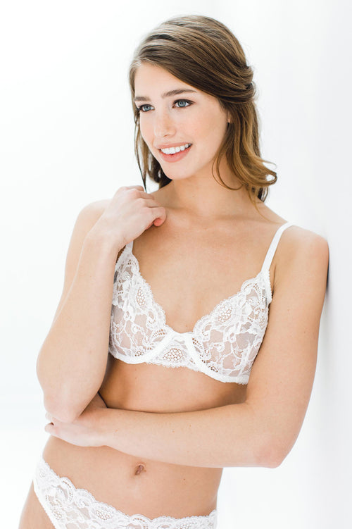 Peony French lace underwire Full cup bra in Ivory