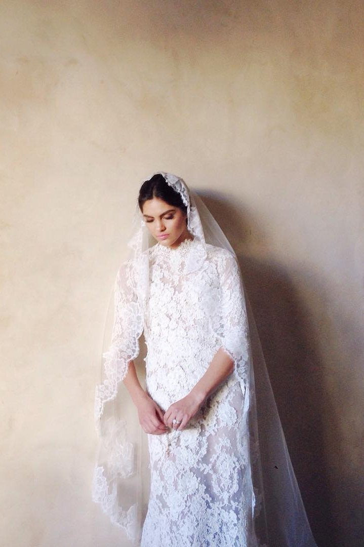 Roseline mantilla french lace veil in ivory or off-white